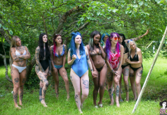 suicide girls, tattoo, nature, grass, plants, bikini wallpaper