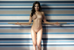 melanie, brunette, naked, boobs, big tits, shaved pussy, pussy, nipples, hot wallpaper