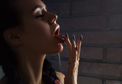 purple nails, dyed hair, closed eyes, open mouth, pigtails, bricks, face, oiled, wet, hot wallpaper
