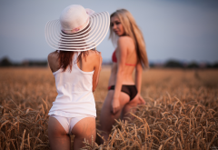 hat, blonde, panties, ass, back, 2 girls, the gap, outdoors, lingerie, field wallpaper