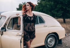 model, redhead, red lipstick, cars, outdoors, lingerie, black lingerie, see-through wallpaper