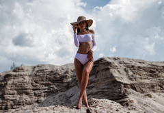 hat, tanned, swimwear, flat belly, bare shoulders, ribs, oiled wallpaper