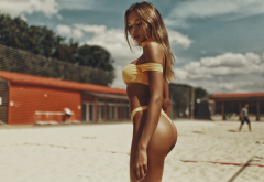 tanned, sand, yellow bikini, ass, outdoors, sexy ass, beach wallpaper