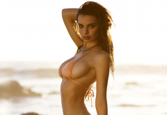 emily ratajkowski, model, brunette, bikini, big boobs, beach, big tits, tanned wallpaper