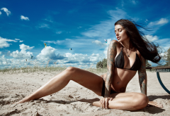 anya sakharova, any sakharova, tanned, sand, tattoo, sitting, closed eyes, beach, bikini wallpaper