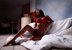 tanned, sitting, red lingerie, closed eyes, flat belly, pierced navel, red bra, bra, brunette wallpaper