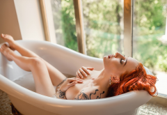 eva rudneva, naked, redhead, bathtub, tattoo, closed eyes, hands on boobs, wet, covering boobs wallpaper