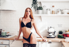 black lingerie, model, kitchen, lingerie, black panties, black stockings, belly, flour, panties, bra wallpaper