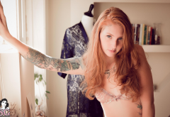 july suicide, redhead, suicide girls, tattoo, bra wallpaper