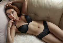 redhead, couch, black lingerie, armpits, black bra, black panties wallpaper