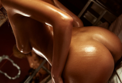 sexy ass, oiled, tanned, tits, boobs, ebony, ass wallpaper