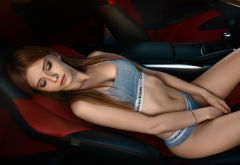 model, redhead, closed eyes, underwear, calvin klein, cars wallpaper