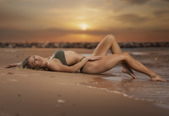 beach, model, barefoot, bikini, sunset, sea, legs, wet, sexy wallpaper