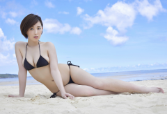 sara oshino, asian, beach, bikini, sea, short hair, busty, sexy wallpaper