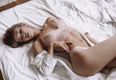 in bed, closed eyes, lingerie, belly, sexy, hips wallpaper