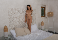 viviane leigh, playboy, shaved pussy, pussy, naked, boobs, big tits, tanned, brunette, in bed, asian wallpaper