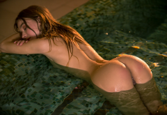sea rose, playboy, ass, wet, pool, tanned, wet hair wallpaper