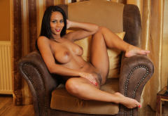 isabella chrystin, tanned, ebony, boobs, big tits, smiling, pussy, labia, spread legs wallpaper