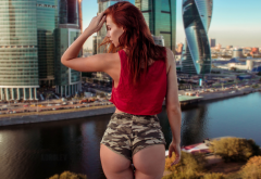 inga sunagatullina, short shorts, ass, back, redhead, river, moscow, russia wallpaper