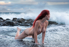 ariel, ariel piperfawn, redhead, naked, sea, beach, boobs, big tits, nipples, ass wallpaper