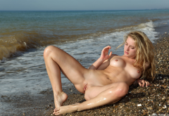 sea, beach, boobs, tits, nipples, spread legs, shaved pussy, labia, pussy, wet wallpaper