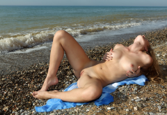 sea, beach, boobs, tits, nipples, spread legs, shaved pussy, labia, pussy wallpaper