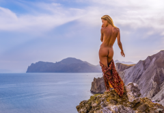 naked, ass, tanned, sea, back, hot, blonde, undressing wallpaper