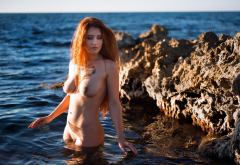 redhead, naked, tattoo, sea, boobs, hard nipples, wet body, wet, tits, nipples wallpaper