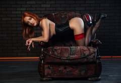 redhead, ass, high heels, wall, bricks, stockings, doggy wallpaper