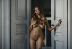 naked, shaved pussy, sexy belly, door, boobs, nipples, tits, tanned, sexy wallpaper