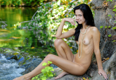skinny, black hair, tits, naked, beads, smiling, river, small tits wallpaper