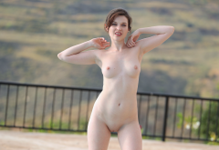 brunette, shaved pussy, pussy, labia, tits, nipples, boobs wallpaper