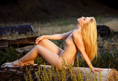 samantha rone, blonde, naked, small tits, legs, outdoor wallpaper