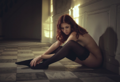 regina piil, redhead, stockings, sideboob, no bra, black stockings wallpaper