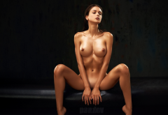 sexy, girl, naked, oiled, boobs, big tits, nipples, shaved, spread legs, sitting wallpaper