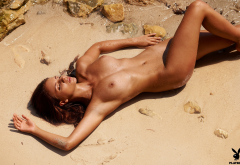 antonia petrova, playboy, boobs, big tits, tanned, beach, wet, hot wallpaper