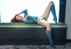 elen moore, redhead, knee socks, shaved pussy, pussy, labia, sweater, bottomless, spread legs wallpaper