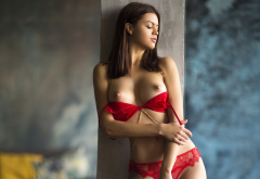 red lingerie, lingerie, red bra, bra, nipples, boobs, big tits, brunette wallpaper