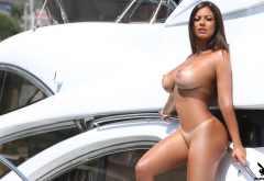 fabiana britto, playboy, tanned, oiled, yacht, boobs, big tits, nipples, tan lines, brunette wallpaper
