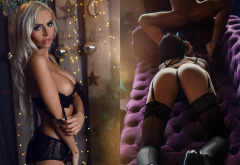 black lingerie, peter marosi, lingerie, stockings, black stockings, thong, panties, black panties, bra, boobs, tits, tanned, blonde, spread legs, pussy wallpaper