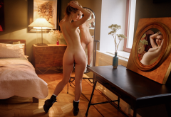 assm naked, sexy, bed, boots, back, hot girl wallpaper