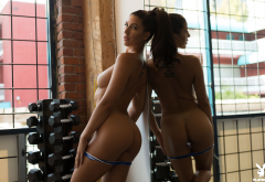 carmen nikole, playboy, naked, tanned, ass, tits, boobs, mirror, undressing, model, gym, brunette wallpaper