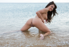 michelles, astrud a, alannis, wet, smiling, naked, ass, doggy, anus, labia, pussy, tits, boobs, lake, sea wallpaper