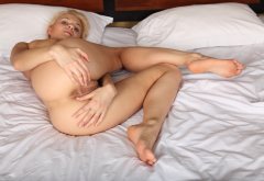 naked, ass, anus, labia, pussy, in bed, blonde wallpaper