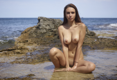 alisa i, alisa amore, jessica albanka, wet, naked, tanned, boobs, big tits, nipples, brunette, shaved pussy, sea, beach wallpaper