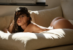 ass, in bed, naked, brunette, hot, sexy, sofa wallpaper