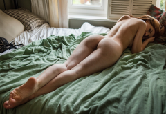 naked, ass, legs, in bed, brunette, sexy wallpaper
