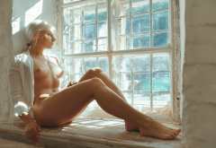 blonde, legs, tits, nipples, tanned, window wallpaper