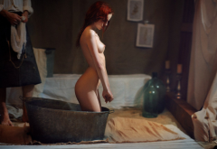 ass, tits, redhead, bathroom, sexy wallpaper