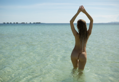 olivia preston, playboy, wet, beach, naked, ass, sexy, hot, back, ocean wallpaper